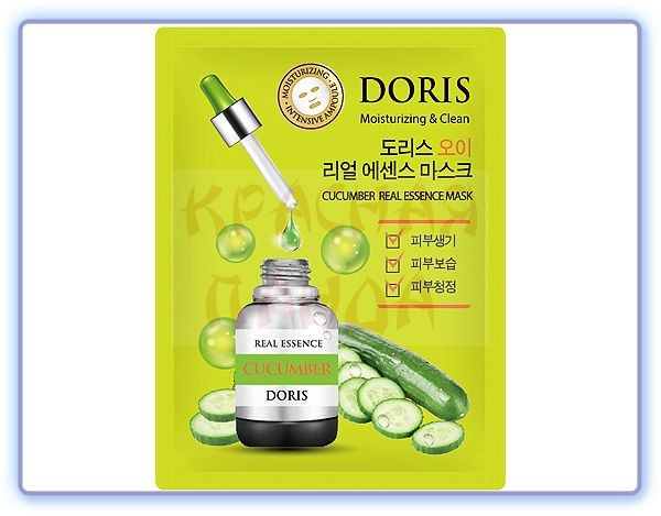 Тканевая маска для лица Огурец Doris Cucumber Real Essence Mask