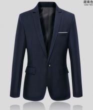 Стильный классический приталенный мужской пиджак темно-синий