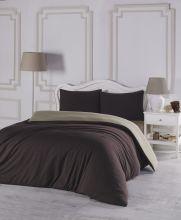 Комплект постельного белья трикотажный  SOFA (коричневый-бежевый) евро   Арт.2988-9