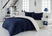 Комплект постельного белья трикотажный  SOFA (синий-кремовый) евро   Арт.2988-12