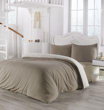 Комплект постельного белья трикотажный  SOFA (бежевый-кремовый) евро   Арт.2988-13