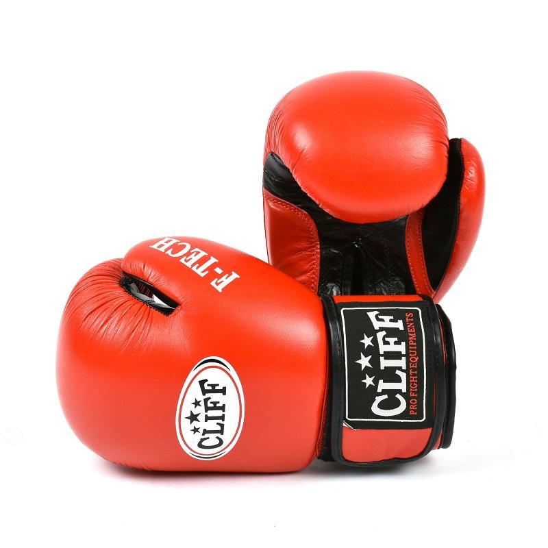 Перчатки боксерские CLIFF, F.TECH (кожа)  12 oz красные
