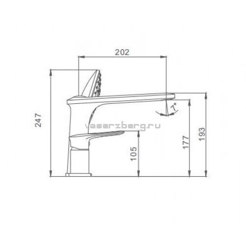 Врезной смеситель для ванны на 3 отверстия Frap F1149
