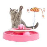 Игрушка-трек для кошек с двумя мячиками Cat Scratch Pan, Розовый