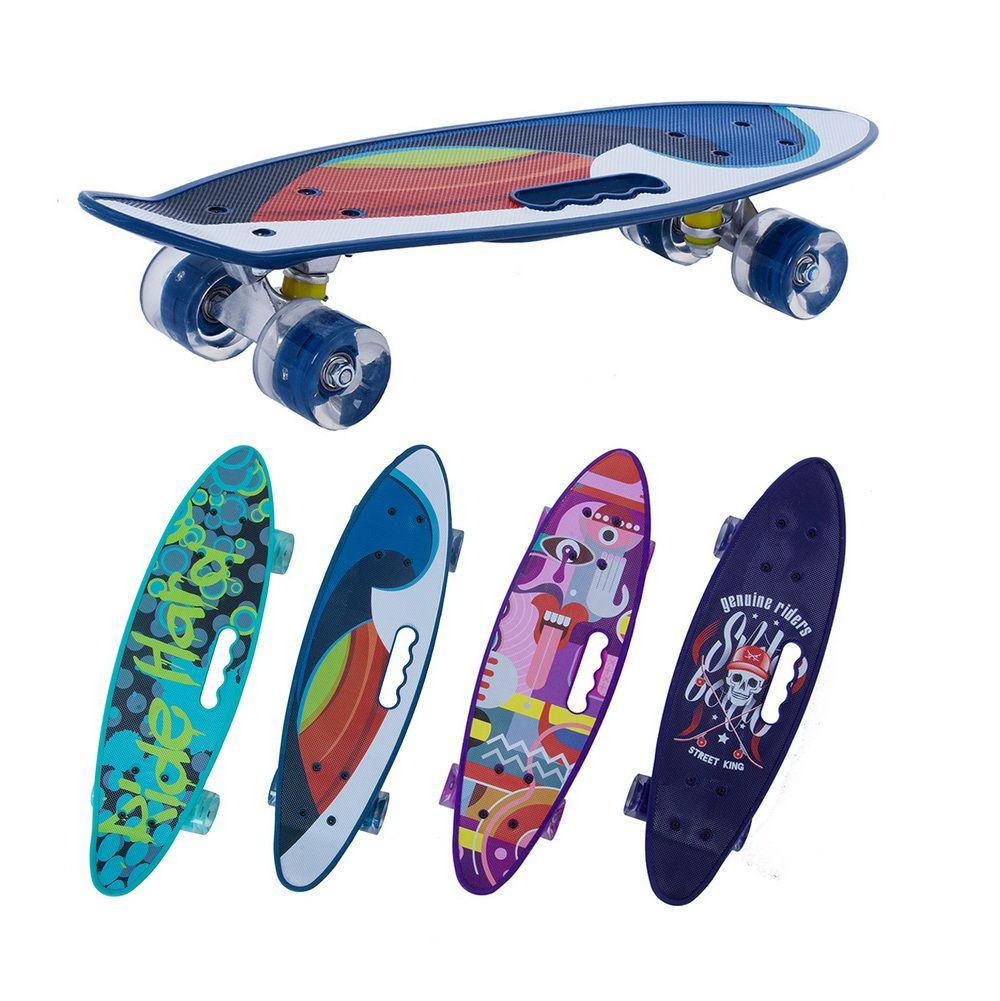 Скейтборд круизер светящиеся колеса с ручкой для переноски 24 дюйма/61 см.