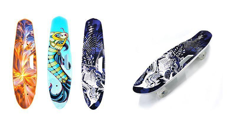 Скейтборд пенни борд 25 дюймов, 64 см., с ручкой, светящиеся колеса (S00480)