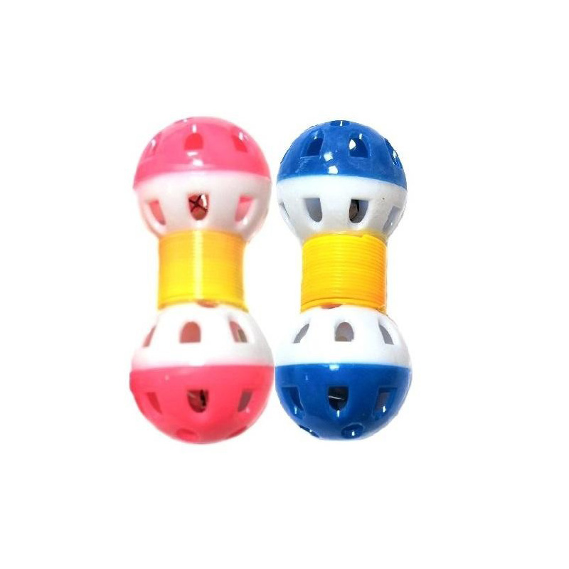 Игрушка для животных с бубенчиком Два шарика на пружинке 9х3 см, 2 шт, Цвет Розовый-Синий