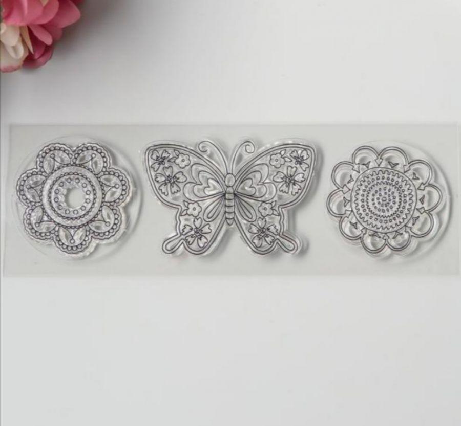 Штамп силиконовый Цветочная бабочка и две ромашки