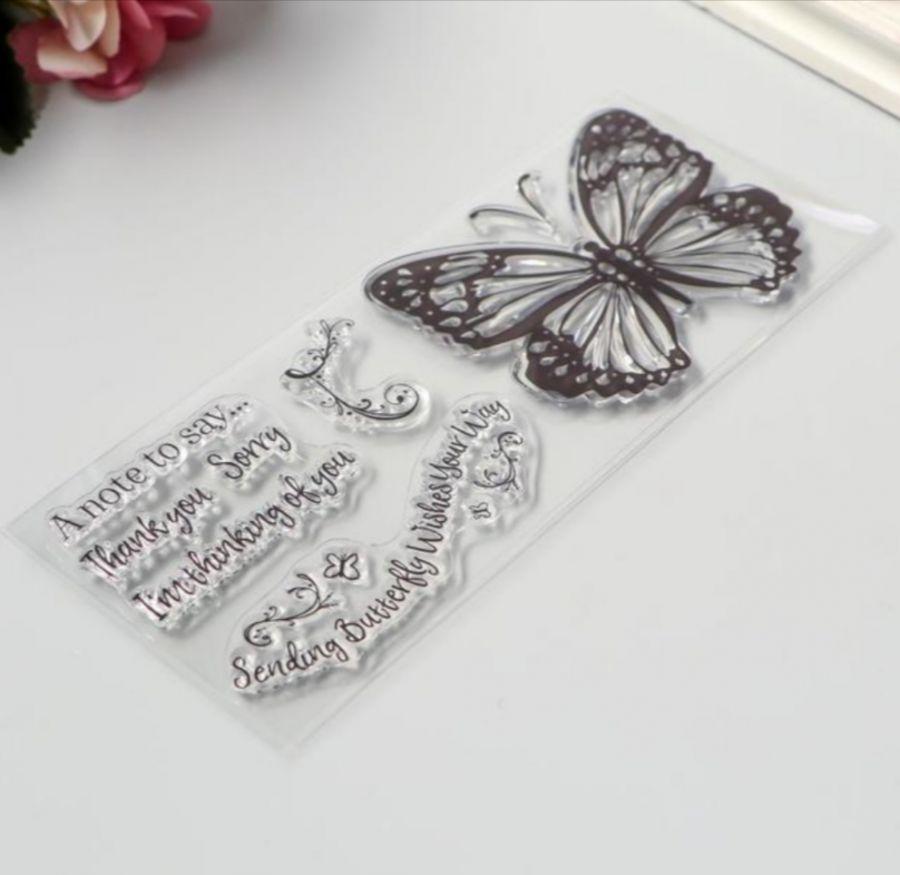 Штамп силиконовый Бабочки и надписи