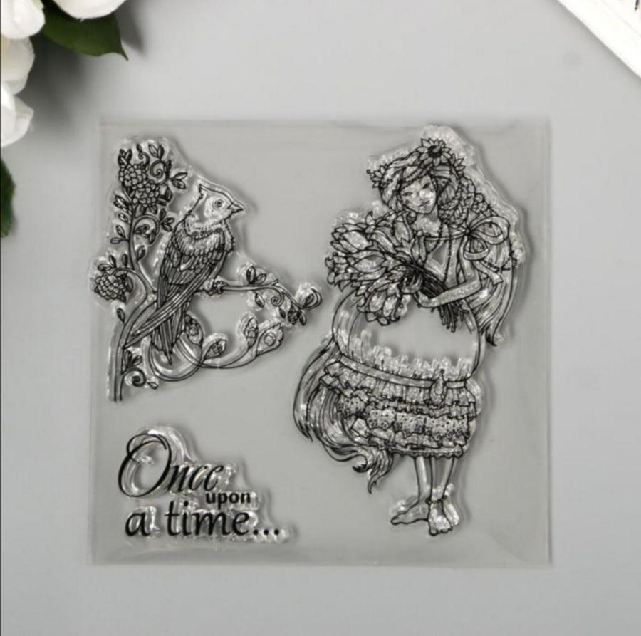 Штамп силиконовый Девушка с цветами и птица на ветке