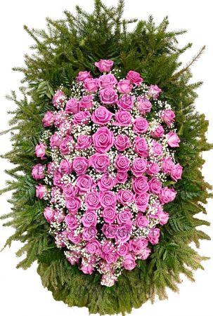 Фото Ритуальный венок из живых цветов #5 розовый из роз и зелени