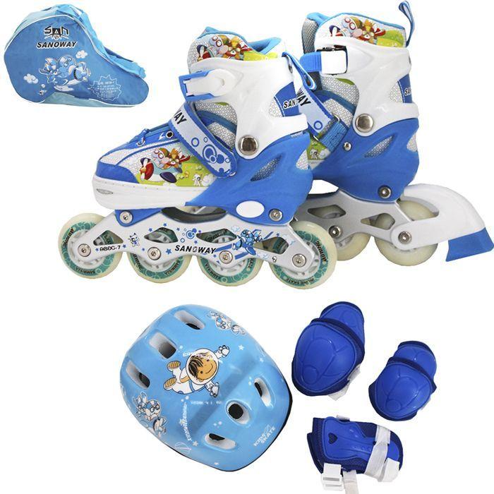 Набор ролики и защита р.31-34, голубой 141-2203R