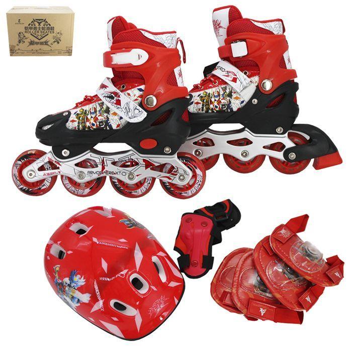 Набор ролики и защита р.35-38, красный 141-2216R