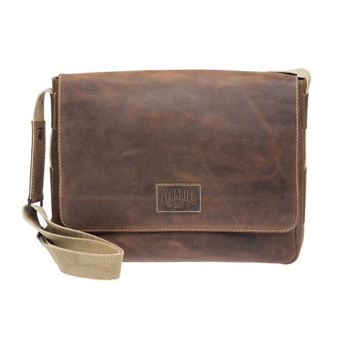 Кожаная мужская сумка-мессенджер Klondike Native, коричневая
