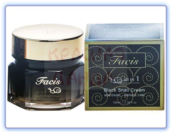Крем для лица с муцином улитки Facis All-In-One Black Snail Cream