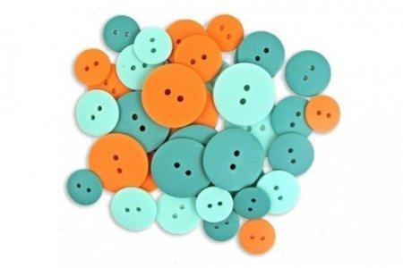 фото Пуговицы для творчества Crafting with buttons Набор Оранжевый-Бирюзовый-Нефритовый