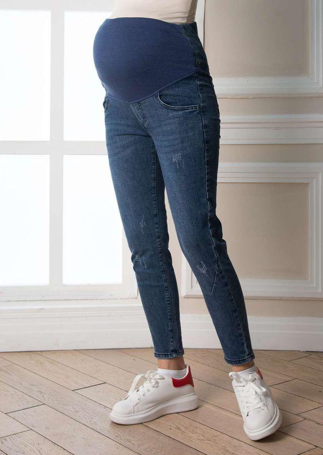 """Джинсы """"Бойфренды"""", трикотажный бандаж спереди джинс синий деним"""