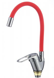 Смеситель для кухонной мойки с гибким красным изливом Savol FM4104-03 хром