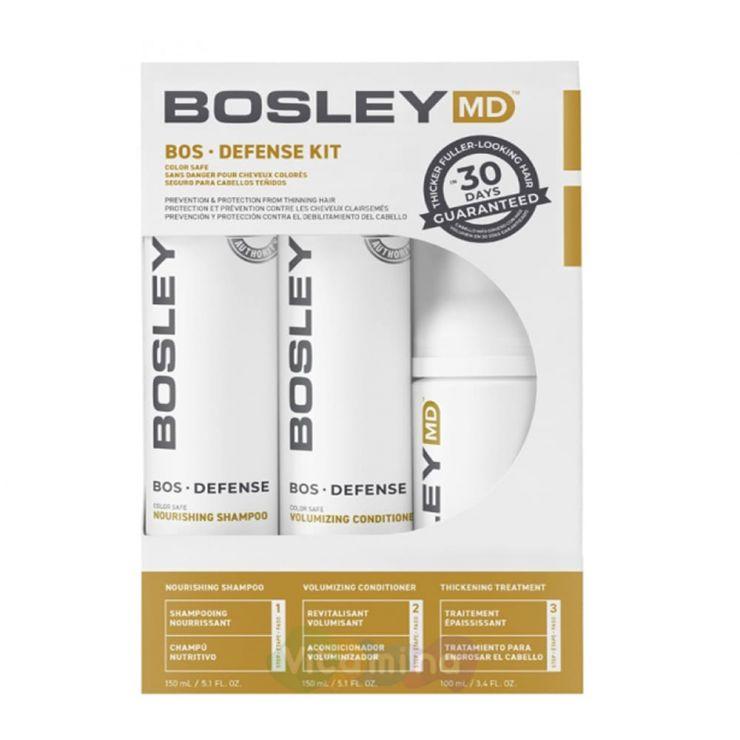 BOSLEY MD Набор для предотвращения истончения и выпадения волос (ШАМПУНЬ, КОНДИЦИОНЕР, УХОД)  BOSDefense Color Safe Starter Pack