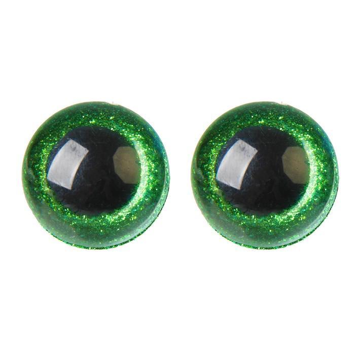 Глазки винтовые с заглушками Блестки 28мм зеленый