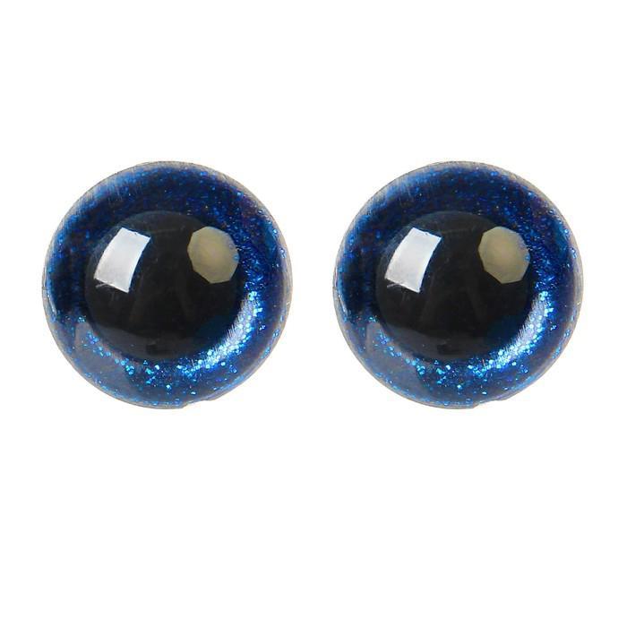 Глазки винтовые с заглушками Блестки 18мм синий