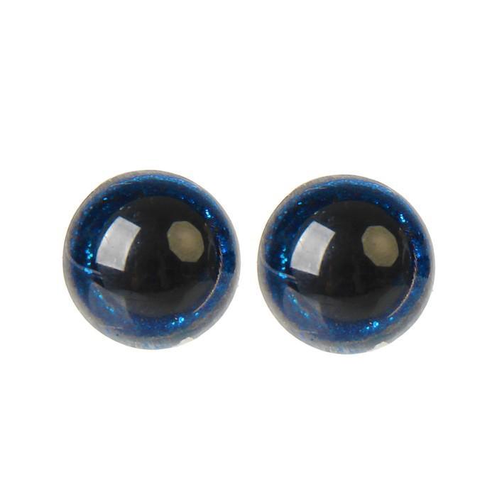Глазки винтовые с заглушками Блестки 16мм синий