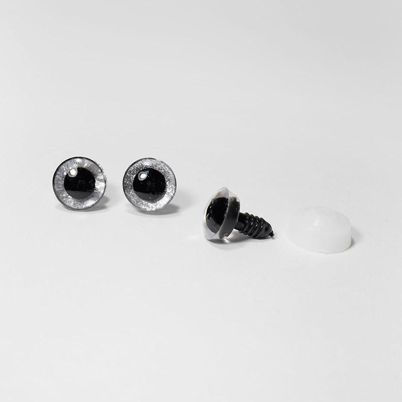 Глазки с искоркой 12мм Серебристый