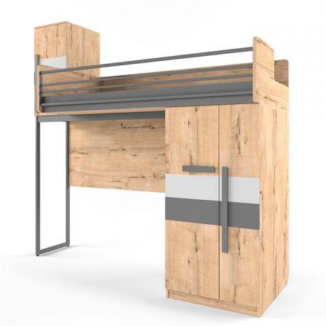 Кровать верхняя малая без лесенки шкаф со сплошным ограждением
