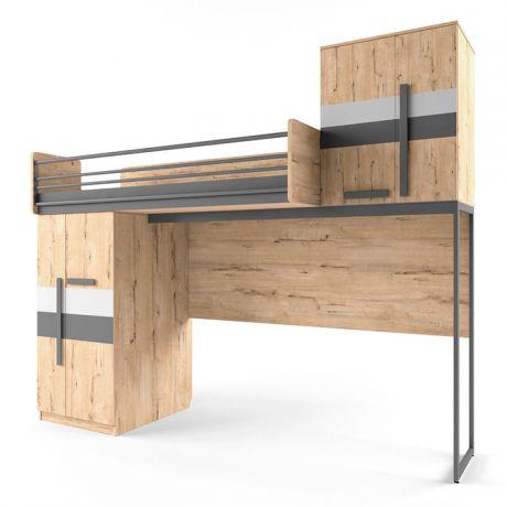 Кровать верхняя без лесенки шкаф со сплошным ограждением