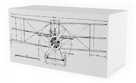 Полка 2 Куба с фасадом печать Авиатор Ньютон Грэй