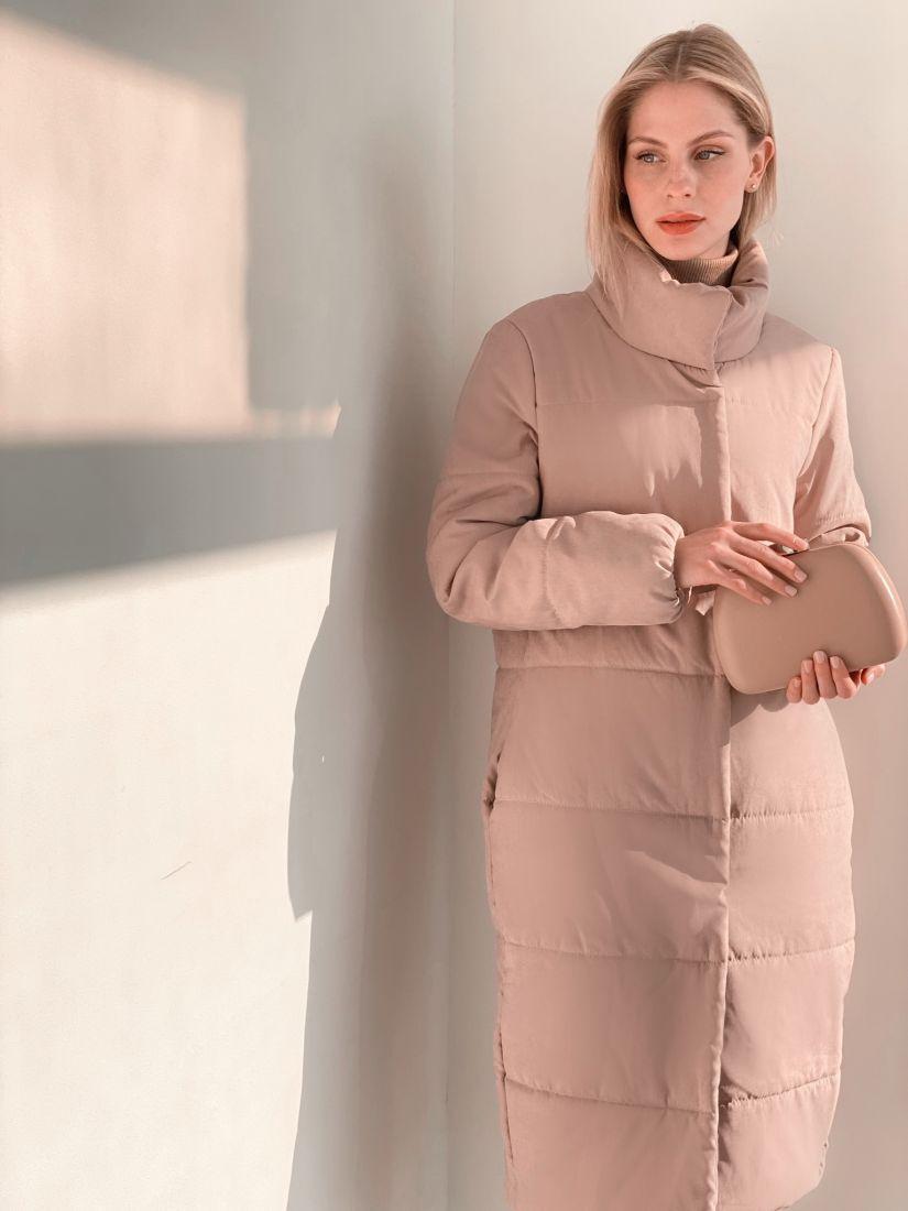"""s3816 Пальто стёганое в цвете """"Крем"""""""