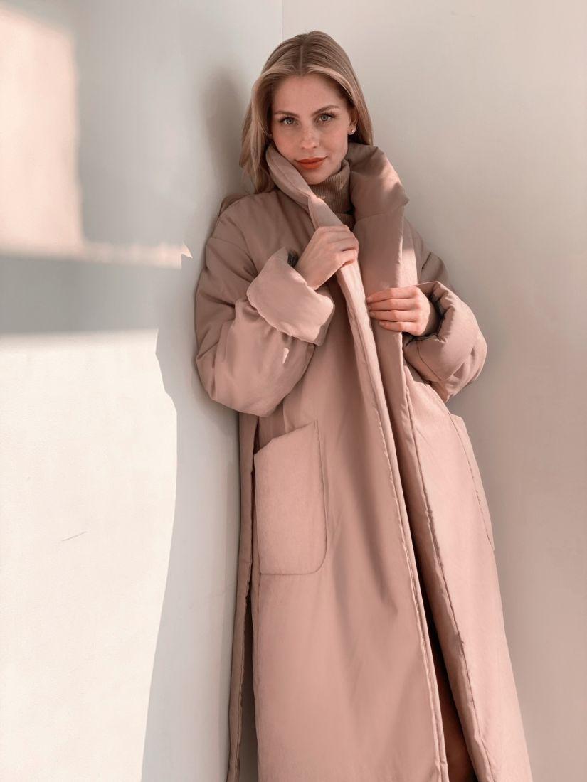 """3817 Пальто утеплённое в цвете """"крем"""""""