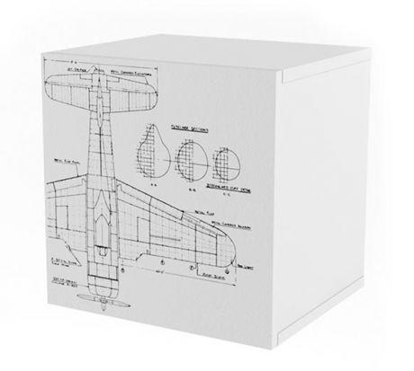 Полка Куб с фасадом печать Авиатор Ньютон Грэй