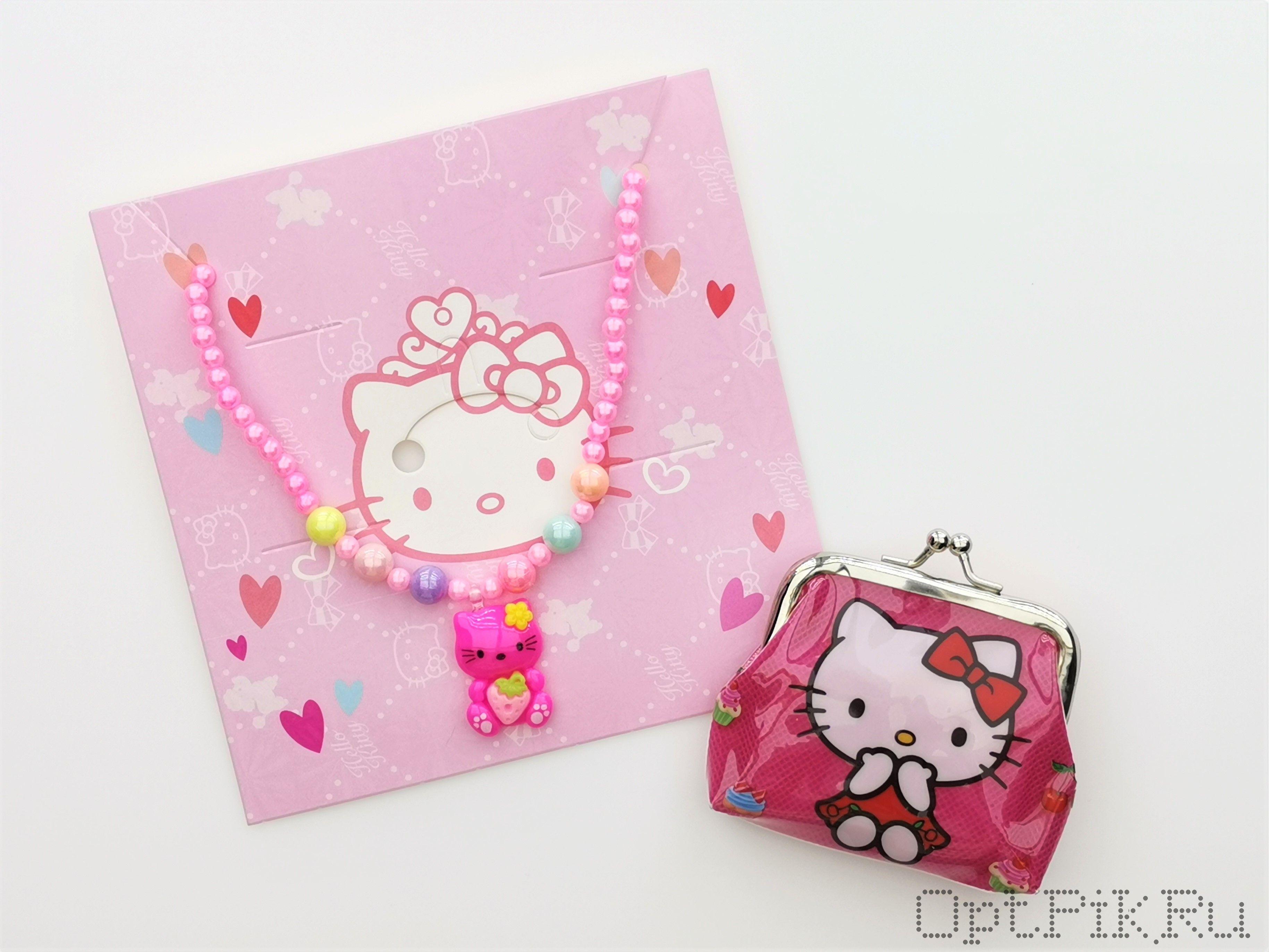 """Набор модницы """"Hello Kitty"""" кошелёк и бусы"""