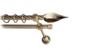 Карниз металлический круглый двухрядный витой антик  МК 040 наконечник Твистер