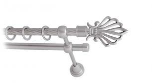Карниз металлический круглый двухрядный витой сатин МК 006 наконечник Веер