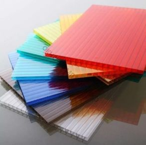 """Поликарбонат 4мм """" Гост"""".Плотность: 0,8м2. Цвет: добавка """"колотый лед"""" в цветах: желтый оранжевый,бордовый,красный, синий, зеленый, бирюза, серебристый, молочный. Размер:2,1*6м"""