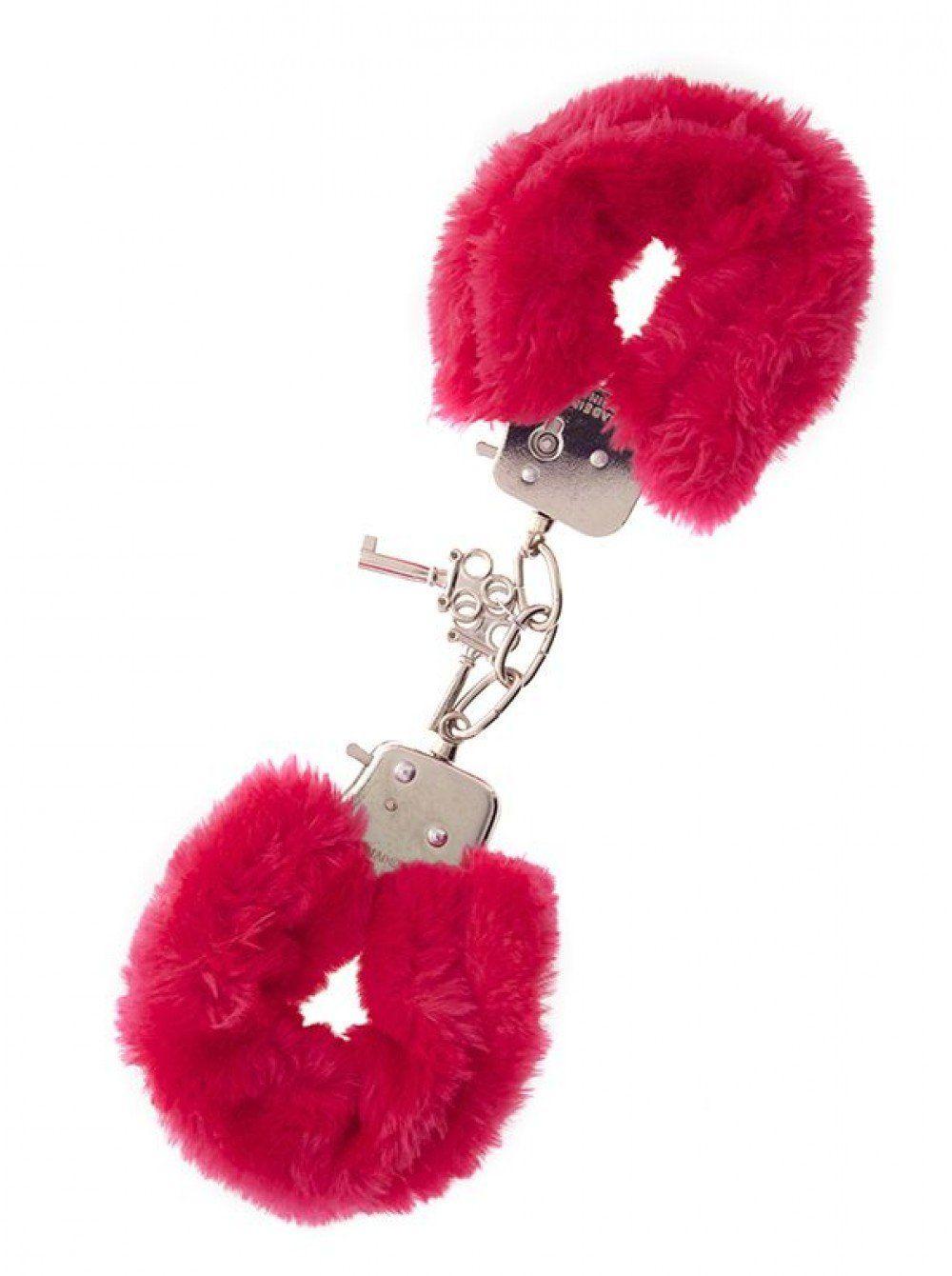 Металлические наручники с красной меховой опушкой