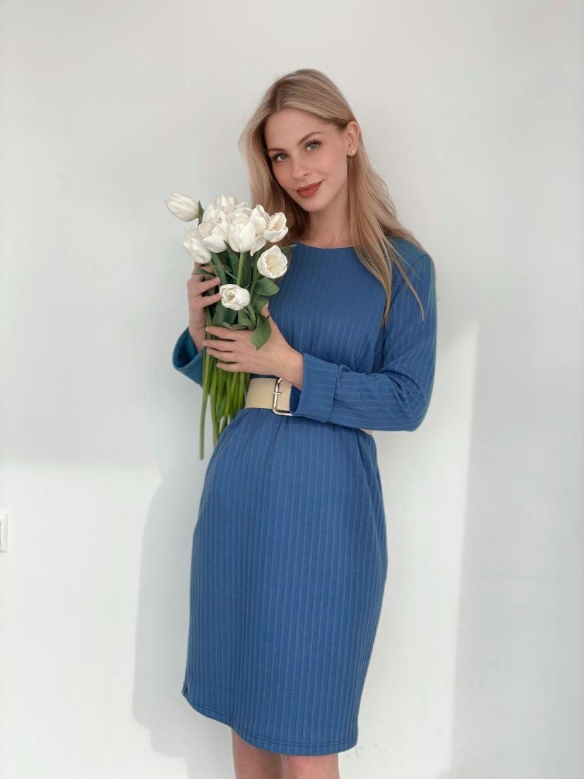 3823 Платье-кокон из мягкого трикотажа голубое