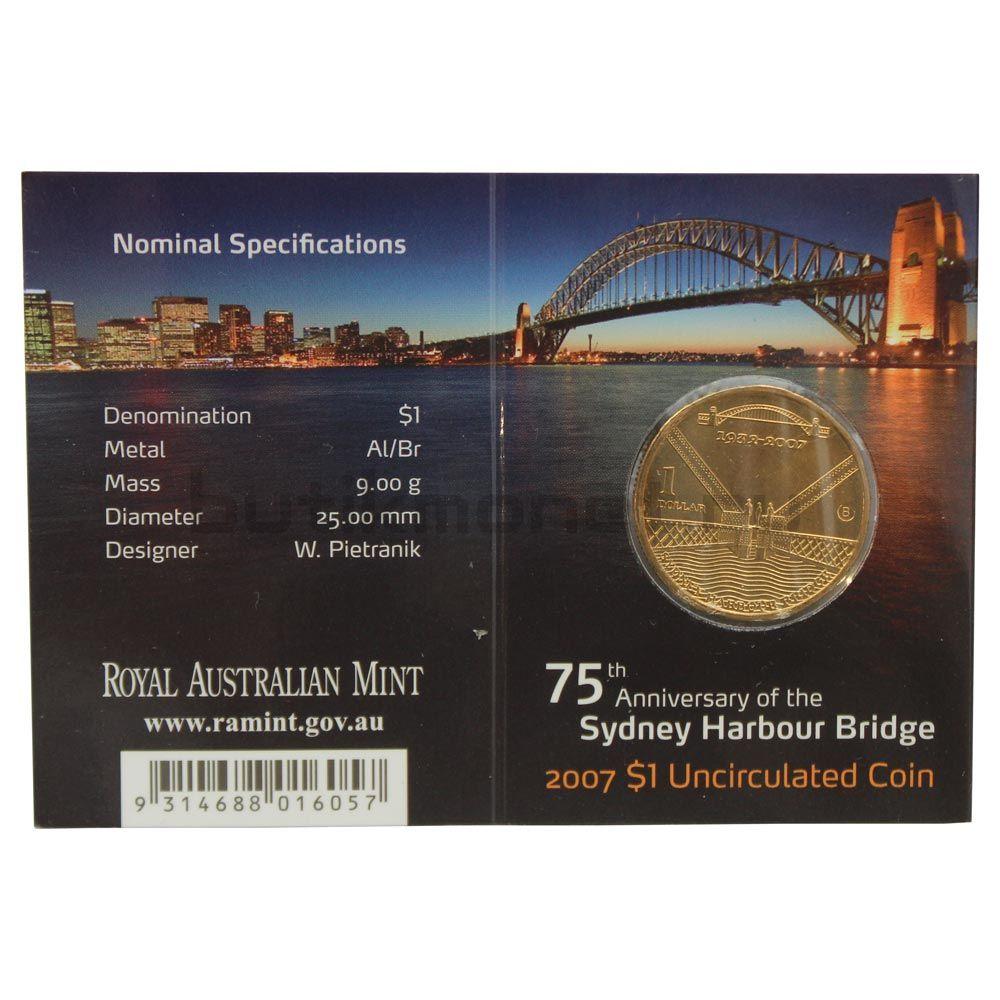 1 доллар 2007 Австралия 75 лет мосту Харбор-Бридж