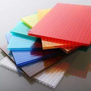 """Сотовый поликарбонат 8мм """"Кристалл"""" Плотность: 1,03м2.Цвет:желтый, оранжевый, бордовый, красный, синий, зеленый, бирюза, серебристый, молочный, без добавки «колотый лед» колотый лед прозрачный. Размер: 2,1*6м"""