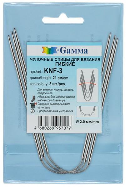 Спицы KNF-3 гибкие чулочные сталь Gamma 2.00 21см