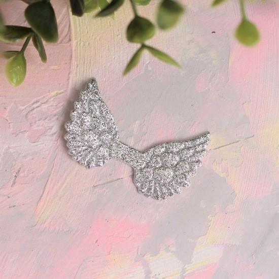 Кукольный аксессуар - Патч серебряные крылья с блестками, 1шт
