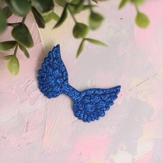 Кукольный аксессуар - Патч синие крылья с блестками, 1шт