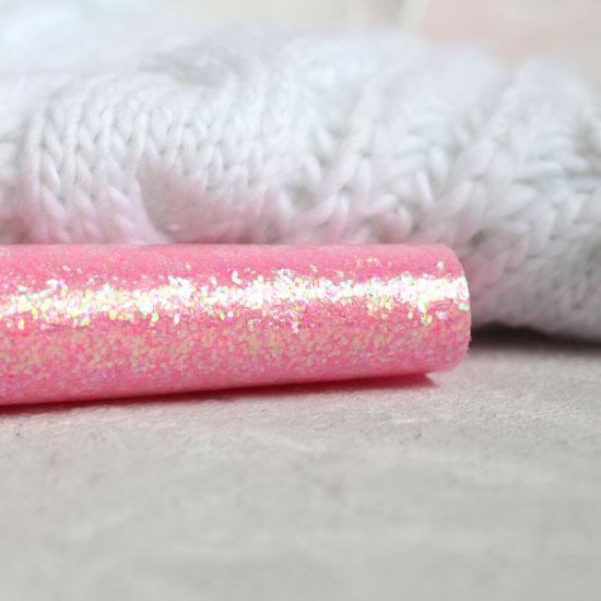 Экокожа для кукольных ботиночек с перламутровыми блестками - Розовый 30х20