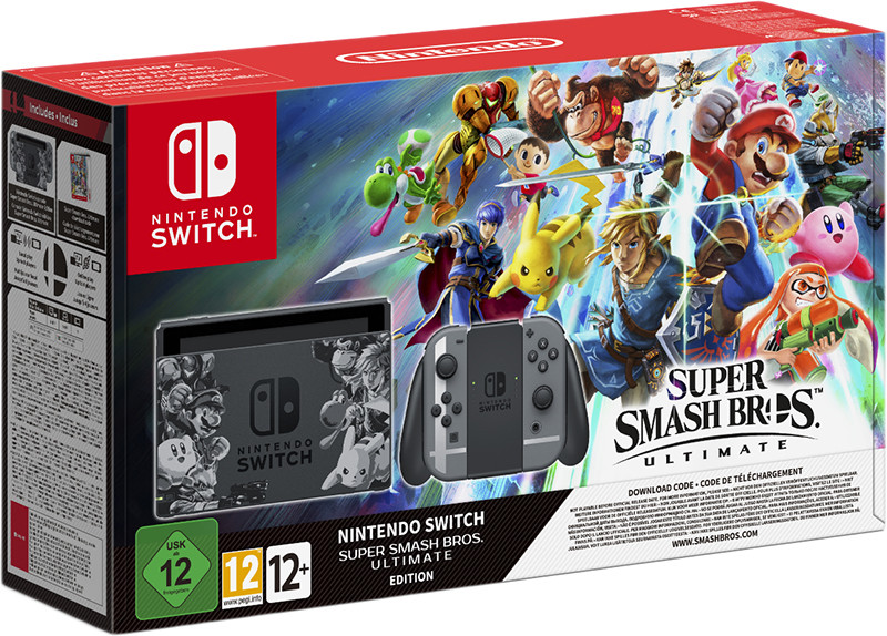 Игровая консоль Nintendo Switch (Gray) + игра Super Smash Bros. Ultimate