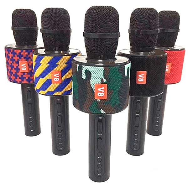 Беспроводной караоке микрофон с динамиком V8 для проведения развлекательных программ, конференций и приятного домашнего времяпрепровождения!