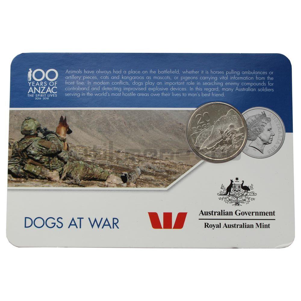20 центов 2016 Австралия Собаки на войне (От АНЗАК до Афганистана)