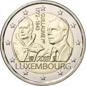 175 лет со дня смерти Великого герцога Гийома I 2 евро Люксембург 2018 UNC