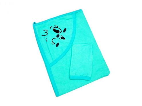 Купальное махровое полотенце с уголком + варежка (бирюза 01889-3)